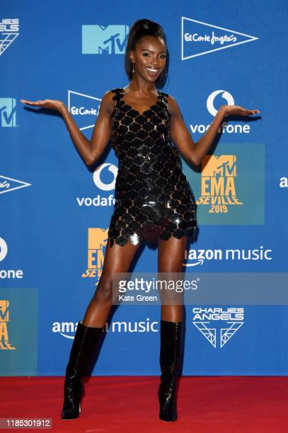 Leomie Anderson poses in the winners room during the MTV EMAs 2019 at FIBES Conference and Exhibition Centre on November 03 2019 in Seville Spain