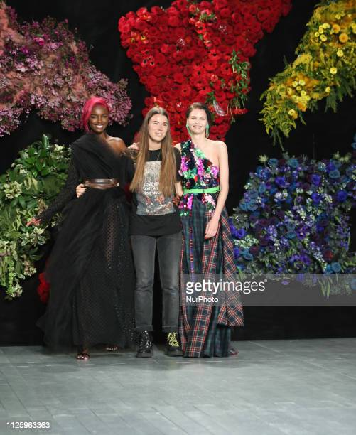 Leomie Anderson poses with designer Roberta Einer walk the runway at the Roberta Einer Ready to Wear Fall/Winter 2019-2020 fashion show during London...