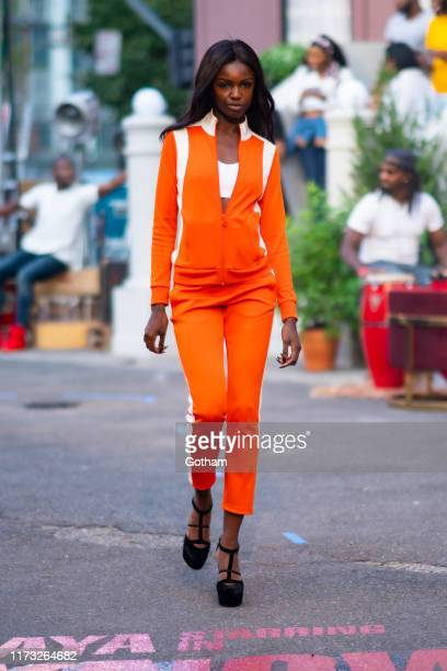 Leomie Anderson rehearses before the TOMMYNOW New York Fall 2019 fashion show at The Apollo Theater on September 08 2019 in New York City