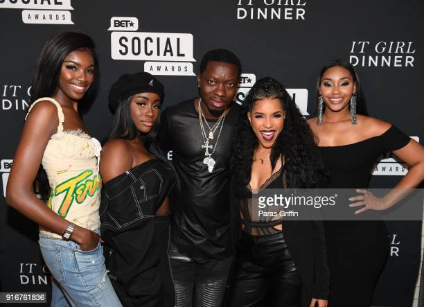 Leomie Anderson Sandra Lambeck Michael Blackson Jasmin Brown and Jasmine Luv attend BET's Social Awards 2018 It Girls Welcome Dinner on February 10...