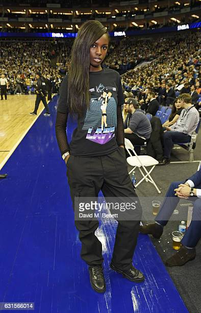 Leomie Anderson sits courtside at the NBA Global Game London 2017 basketball game between the Indiana Pacers and Denver Nuggets at The O2 Arena on...