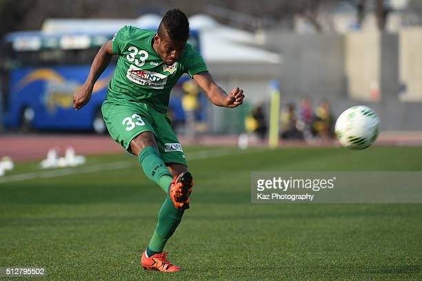 Leomineiro of FC Gifu shoots the ball during the JLeague second division match between Thespa Kusatsu Gunma and FC Gifu at the Shoda Shoyu Stadium...