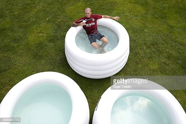Leon Andreasen of Hanover cools down at Hannover 96 training camp on August 2 2014 in Mureck Austria