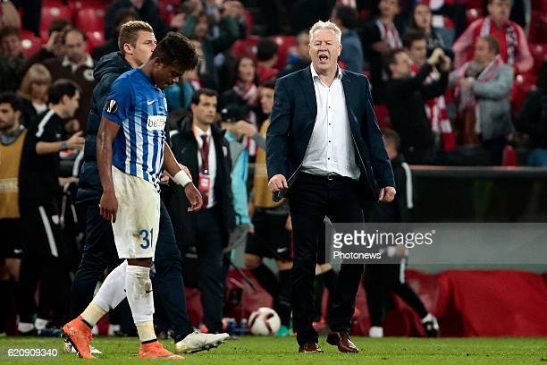 Leon Bailey forward of KRC Genk and Peter Maes head coach of KRC Genk looks dejected after the UEFA Europa League group F stage match between...