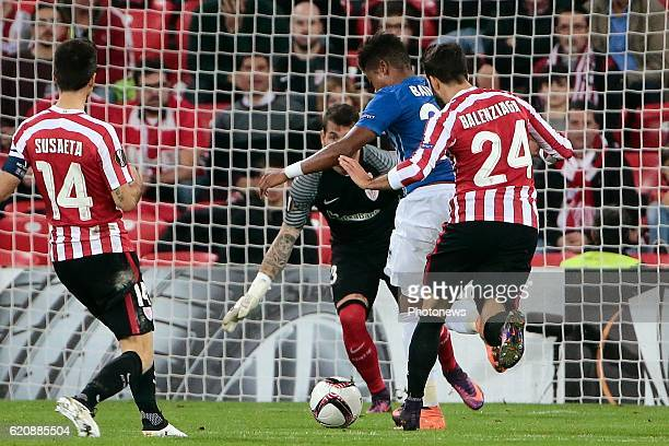 Leon Bailey forward of KRC Genk celebrates scoring a goal pictured during the UEFA Europa League group F stage match between Athletic Club de Bilbao...