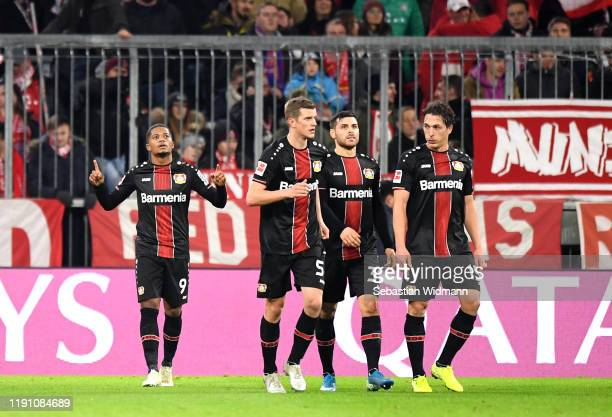 Leon Bailey of Bayer 04 Leverkusen celebrates after scoring his team's second goal during the Bundesliga match between FC Bayern Muenchen and Bayer...