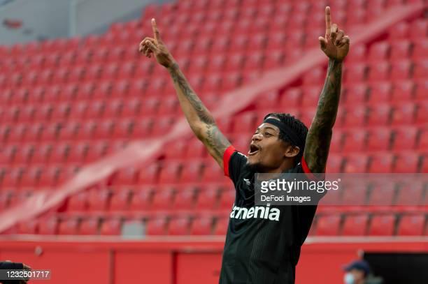 Leon Bailey of Bayer 04 Leverkusen celebrates after scoring his team's first goal during the Bundesliga match between Bayer 04 Leverkusen and...