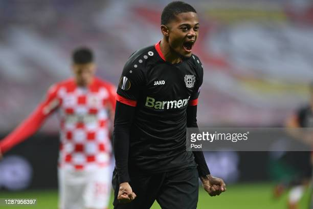 Leon Bailey of Bayer 04 Leverkusen celebrates after scoring their sides second goal during the UEFA Europa League Group C stage match between Bayer...