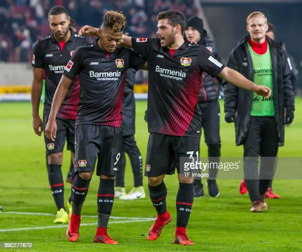Leon Bailey of Bayer Leverkusen and Kevin Volland of Bayer Leverkusen celebrate after winning the Bundesliga match between VfB Stuttgart and Bayer 04...