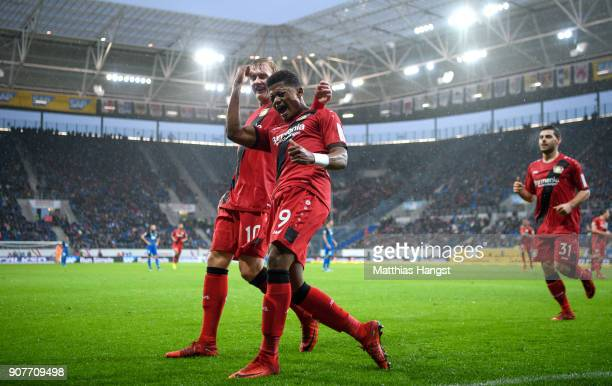 Leon Bailey of Bayer Leverkusen celebrates after he scored a goal to make it 01 during the Bundesliga match between TSG 1899 Hoffenheim and Bayer 04...