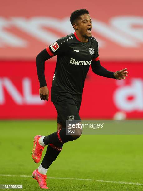 Leon Bailey of Bayer Leverkusen celebrates after scoring their team's third goal during the Bundesliga match between Bayer 04 Leverkusen and 1. FC...