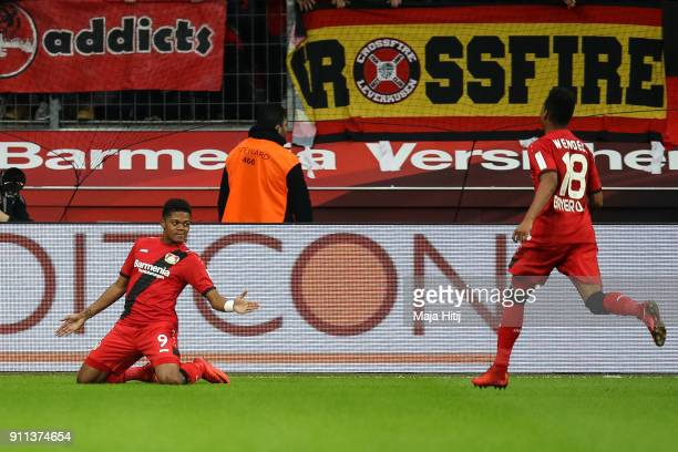 Leon Bailey of Bayer Leverkusen celebrates with Wendell of Bayer Leverkusen after scoring his teams first goal to make it 10 during the Bundesliga...