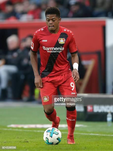 Leon Bailey of Bayer Leverkusen during the German Bundesliga match between Bayer Leverkusen v Schalke 04 at the BayArena on February 25 2018 in...