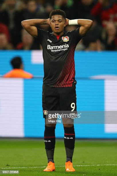 Leon Bailey of Bayer Leverkusen reacts during the Bundesliga match between Bayer 04 Leverkusen and Borussia Moenchengladbach at BayArena on March 10...
