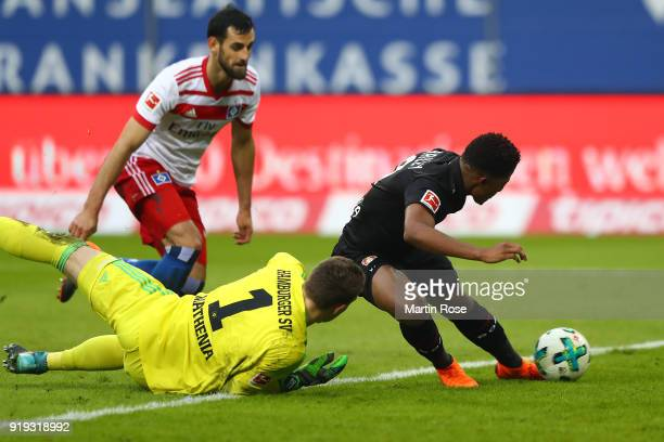 Leon Bailey of Bayer Leverkusen scores a goal past Christian Mathenia of Hamburg to make it 01 during the Bundesliga match between Hamburger SV and...