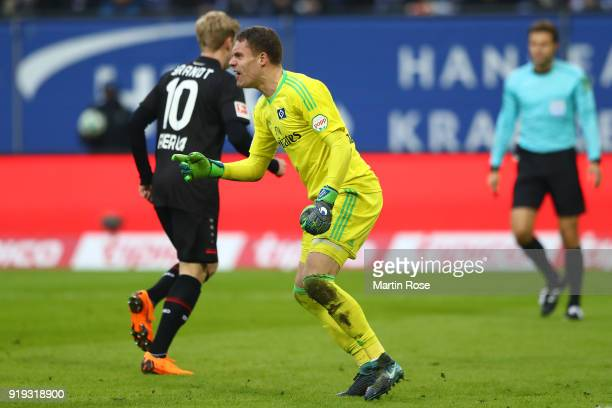 Leon Bailey of Bayer Leverkusen scores a goal past goalkeeper Christian Mathenia of Hamburg to make it 01 during the Bundesliga match between...