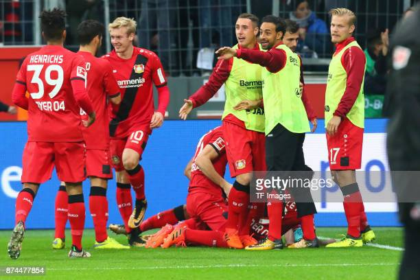 Leon Bailey of Leverkusen celebrates after scoring his team`s first goal with Lucas Nicolas Alario Karim Bellarabi Benjamin Heinrichs Julian Brandt...