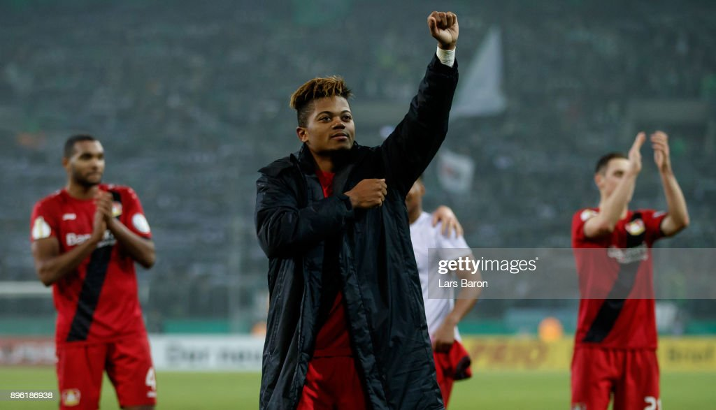 Leon Bailey of Leverkusen celebrates after winning the DFB Cup match between Borussia Moenchengladbach and Bayer Leverkusen at Borussia-Park on December 20, 2017 in Moenchengladbach, Germany.