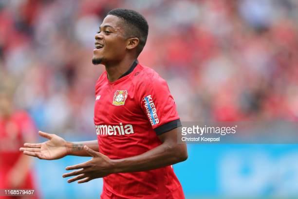 Leon Bailey of Leverkusen celebrates the first goal during the Bundesliga match between Bayer 04 Leverkusen and SC Paderborn 07 at BayArena on August...