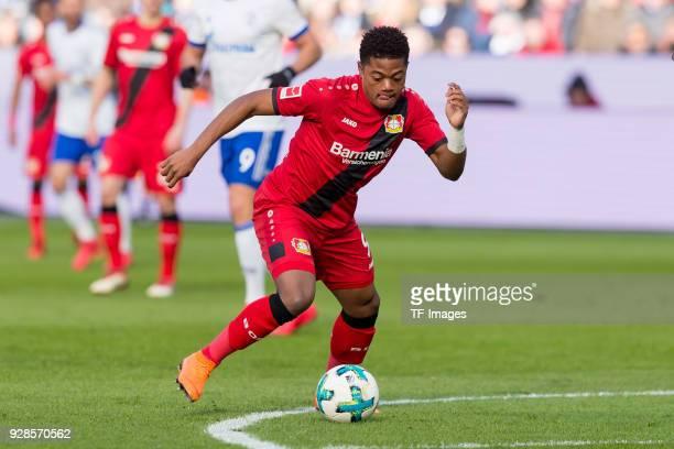 Leon Bailey of Leverkusen controls the ball during the Bundesliga match between Bayer 04 Leverkusen and FC Schalke 04 at BayArena on February 25 2018...