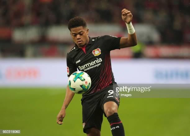 Leon Bailey of Leverkusen controls the ball during the Bundesliga match between Bayer 04 Leverkusen and Borussia Moenchengladbach at BayArena on...