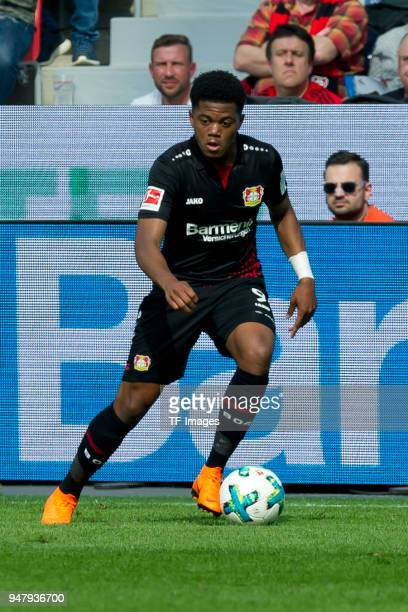 Leon Bailey of Leverkusen controls the ball during the Bundesliga match between Bayer 04 Leverkusen and Eintracht Frankfurt at BayArena on April 14...
