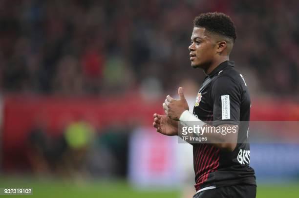 Leon Bailey of Leverkusen gestures during the Bundesliga match between Bayer 04 Leverkusen and Borussia Moenchengladbach at BayArena on March 10 2018...