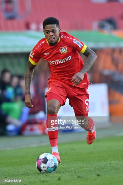Leon Bailey of Leverkusen plays the ball during the Bundesliga match between FC Augsburg and Bayer 04 Leverkusen at WWK-Arena on February 21, 2021 in...