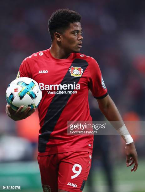 Leon Bailey of Leverkusen reacts during the DFB Cup semi final match between Bayer 04 Leverkusen and Bayern Muenchen at BayArena on April 17 2018 in...