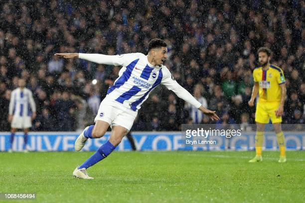 Leon Balogun of Brighton and Hove Albion celebrates after scoring his team's second goal during the Premier League match between Brighton Hove Albion...