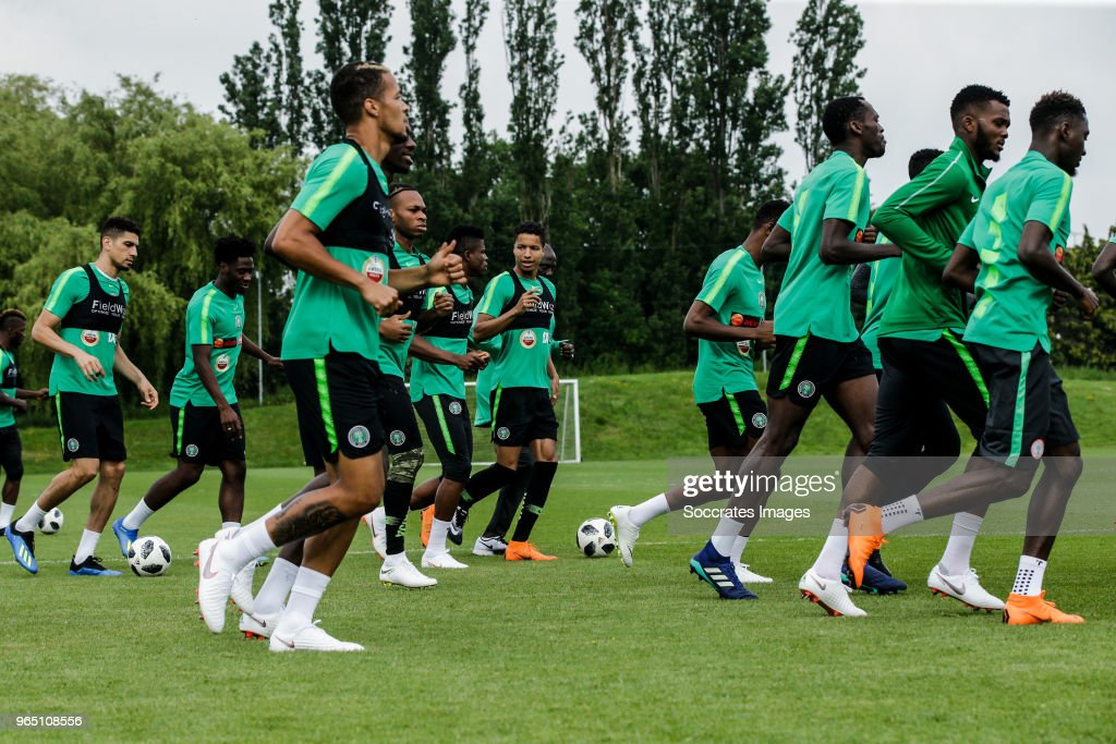 Leon Balogun of Nigeria, Ola Aina of Nigeria, William Troost Ekong of Nigeria, Joel Obi of Nigeria, Mikel Agu of Nigeria, Tyronne Ebuehi of Nigeria, during the Nigeria Training at the The hive on May 31, 2018 in Barnet United Kingdom