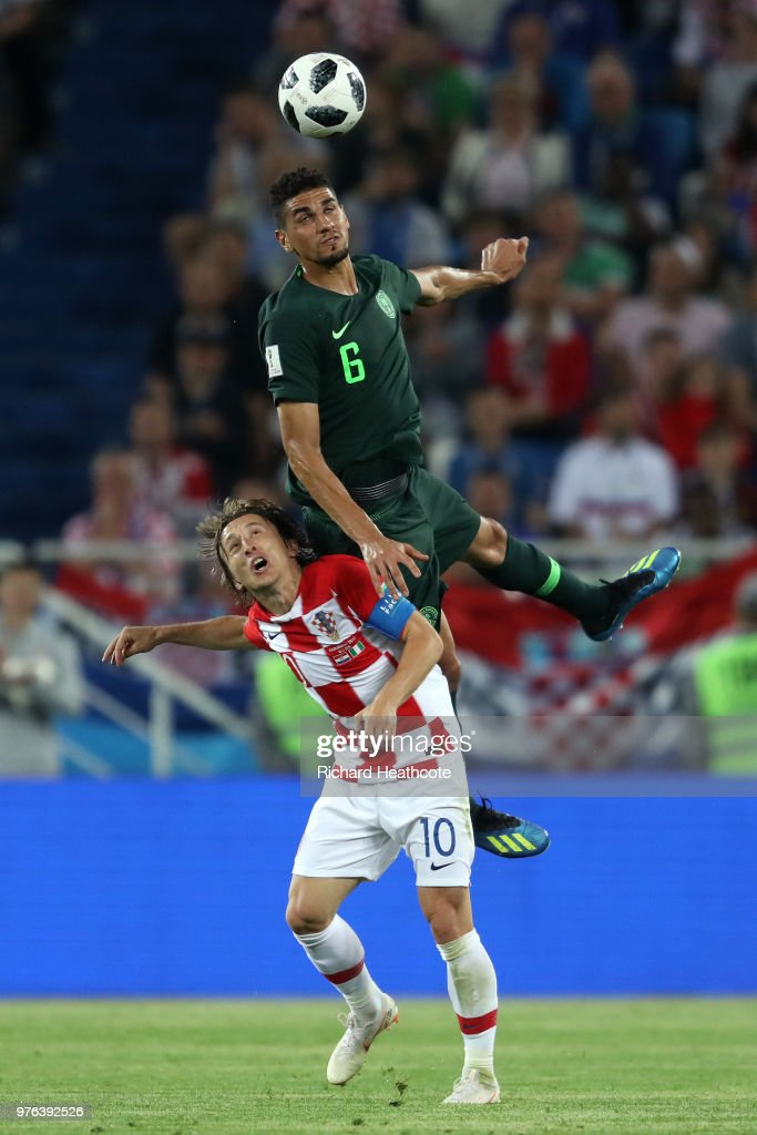 Leon Balogun of Nigeria wins a header ahead of Luka Modric of Croatia during the 2018 FIFA World Cup Russia group D match between Croatia and Nigeria at Kaliningrad Stadium on June 16, 2018 in Kaliningrad, Russia.