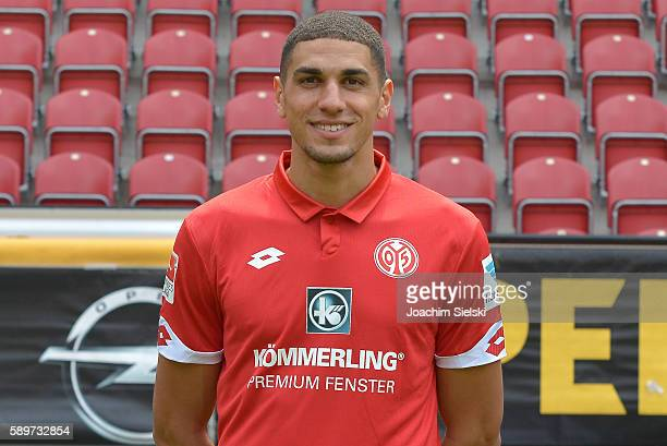 Leon Balogun poses during the official team presentation of 1 FSV Mainz 05 at Opel Arena on July 25 2016 in Mainz Germany