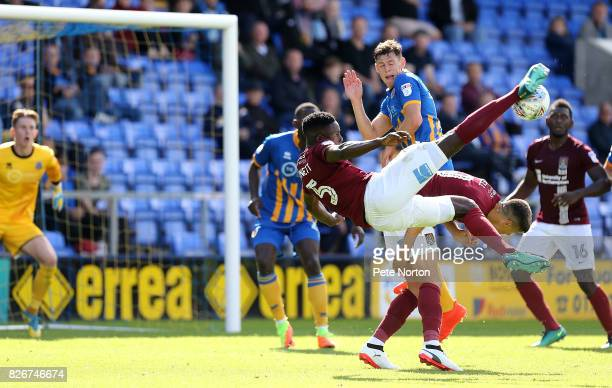 Leon Barnett of Northampton Town attempts a shot at goal during the Sky Bet League One match between Shrewsbury Town and Northampton Town at New...