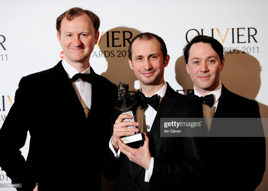 Leon Baugh (C), winner of Best Theatre Choreographer for 'Sucker Punch' poses with Mark Gatiss (L) and Reece Shearsmith (R) in the press room during The Olivier Awards 2011 at Theatre Royal on March 13, 2011 in London, England.