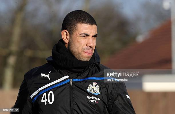 Leon Best looks on during a Newcastle United training session at the Little Benton training ground on January 03 2012 in Newcastle England