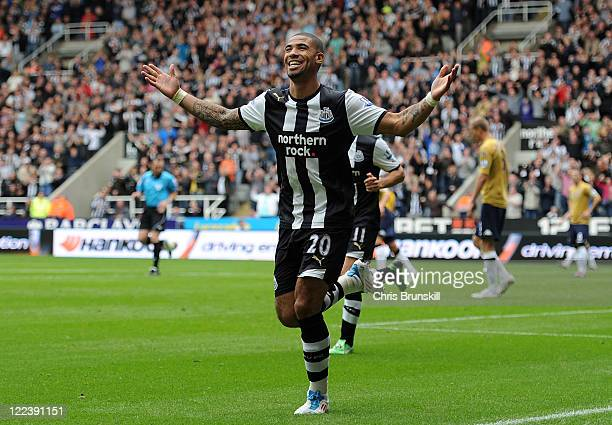 Leon Best of Newcastle United celebrates scoring the opening goal during the Barclays Premier League match between Newcastle United and Fulham at St...