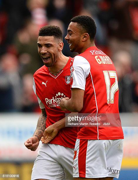 Leon Best of Rotherham United celebrates with his teammate Grant Ward after he scored his team's third goal to make the score 33 during the Sky Bet...