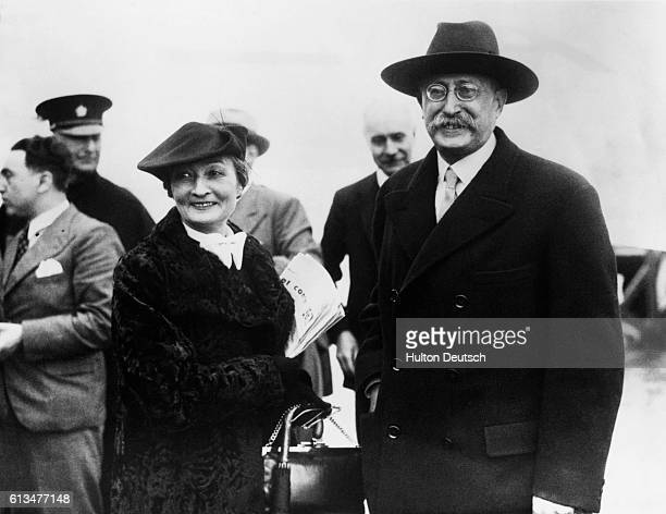Leon Blum the French Prime Minister arrives in England with his wife