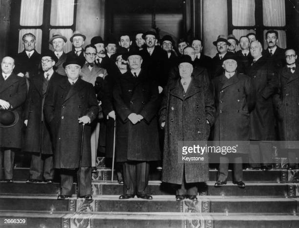 Leon Blum the French socialist Prime Minister with members of his 'popular front' government outside the Elysee Palace Paris On the left is Albert...