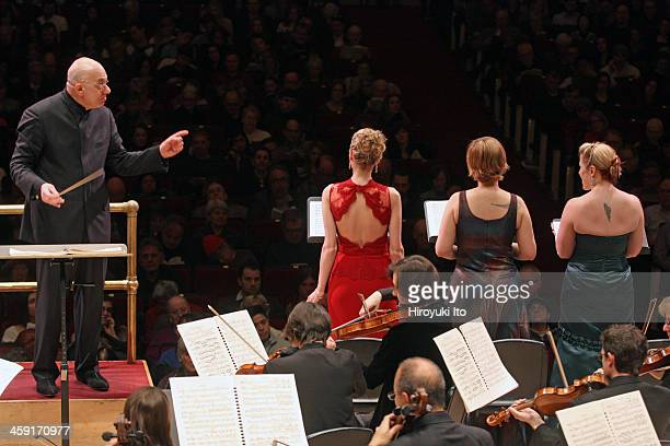 Leon Botstein leading the American Symphony Orchestra the Collegiate Chorale Singers and the Manhattan Girls Chorus in Strauss's 'Feuersnot' at...