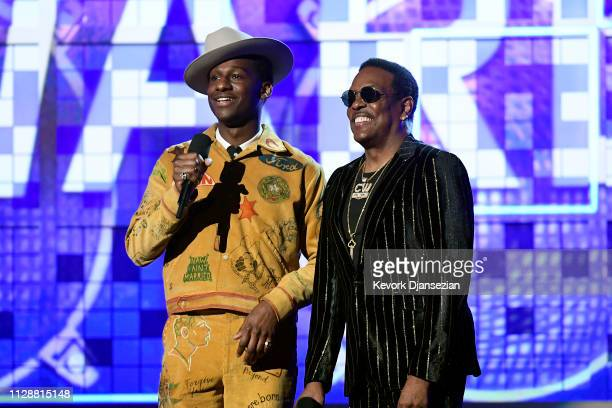 Leon Bridges and Charlie Wilson speak onstage during the 61st Annual GRAMMY Awards at Staples Center on February 10 2019 in Los Angeles California