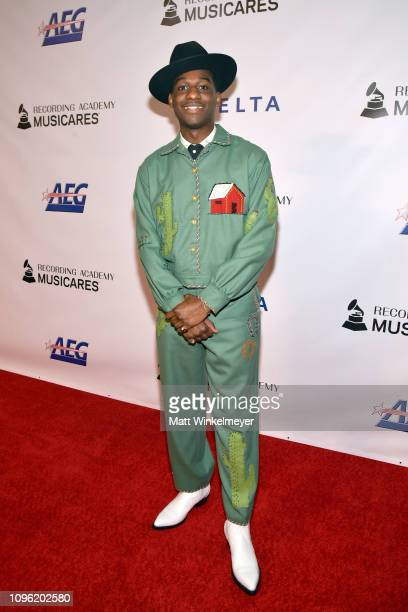Leon Bridges attends MusiCares Person of the Year honoring Dolly Parton at Los Angeles Convention Center on February 8 2019 in Los Angeles California