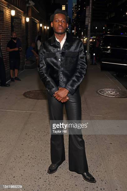 """Leon Bridges departs """"Late Show with Stephen Colbert"""" at Ed Sullivan Theatre on September 21, 2021 in New York City."""