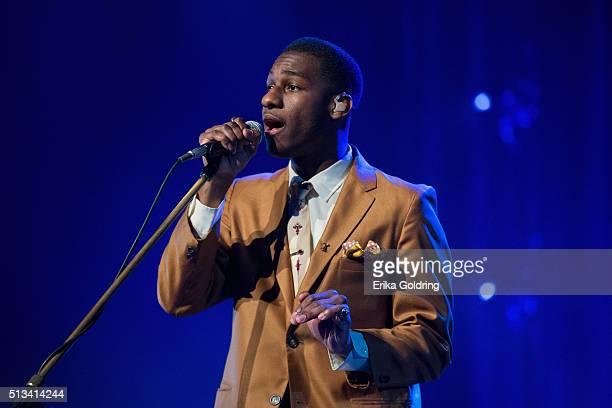 Leon Bridges performs at Ryman Auditorium on March 2 2016 in Nashville Tennessee
