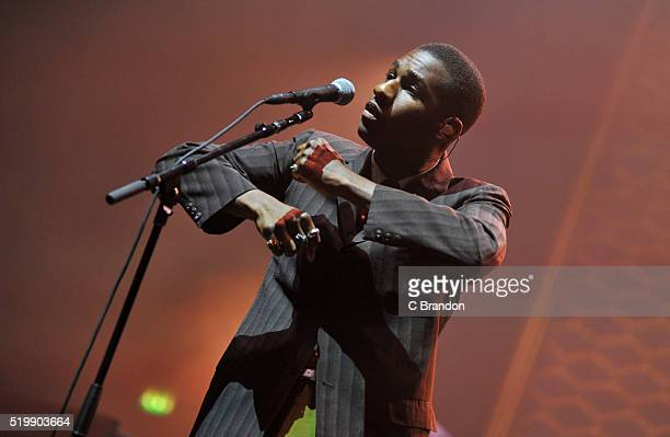 Leon Bridges performs on stage at the O2 Academy Brixton on April 8 2016 in London England