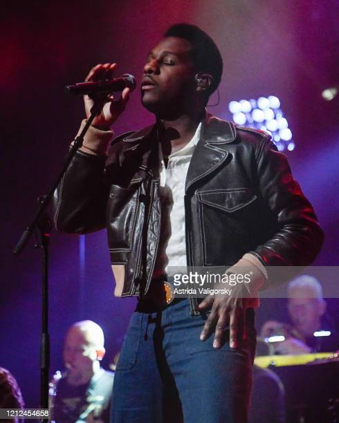 Leon Bridges performs on stage during the Fourth Annual LOVE ROCKS NYC benefit concert for God's Love We Deliver at Beacon Theatre on March 12 2020...