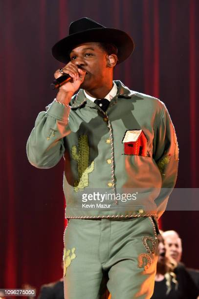 Leon Bridges performs onstage during MusiCares Person of the Year honoring Dolly Parton at Los Angeles Convention Center on February 8, 2019 in Los...