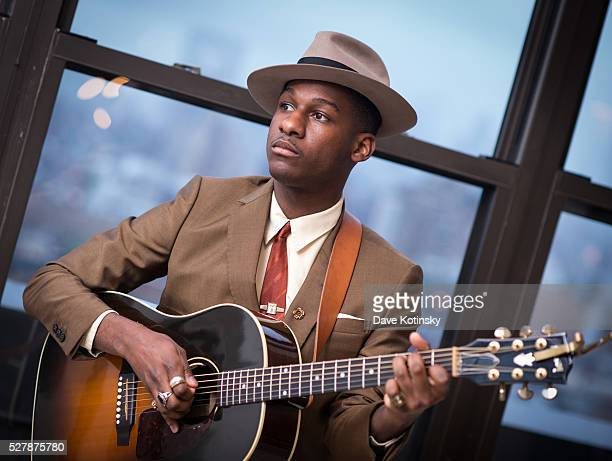 """Leon Bridges plays at the """"Leon Bridges: This Is Home"""" New York Premiere at Squarespace on May 3, 2016 in New York City."""