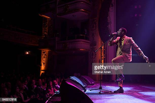 Leon Bridges preforms during Prince Walk of Fame Induction and 2016 Spring Gala at The Apollo Theater on June 13 2016 in New York City
